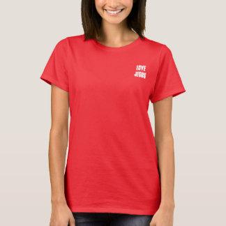 Camiseta Amor Jesus no canto pequeno da parte dianteira