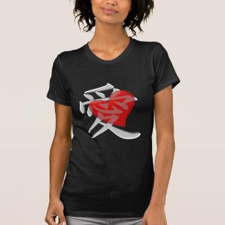 Camiseta Amor no kanji/coração vermelho grande