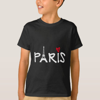 Camiseta Amor Paris com torre Eiffel e coração vermelho