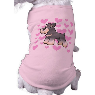 Camiseta Amor Schnauzer gigante/padrão/diminuto
