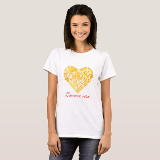 Camiseta Amor verdadeiro - parte superior italiana da massa