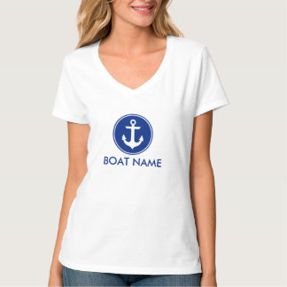 Camiseta Âncora azul náutica seu V-Pescoço do t-shirt do