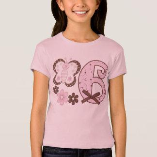 Camiseta Aniversário da borboleta cor-de-rosa 6o