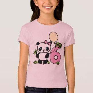 Camiseta Aniversário da menina da panda 6o