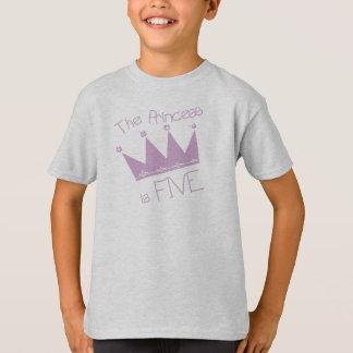 Camiseta Aniversário da princesa Coroa 5o