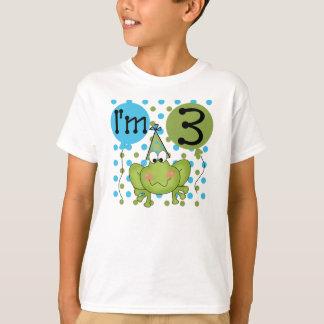 Camiseta Aniversário de 3 anos do sapo (azul)