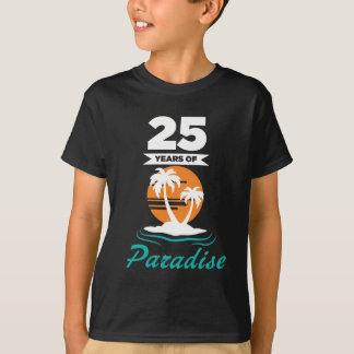 Camiseta Aniversário de casamento da prata tropical da
