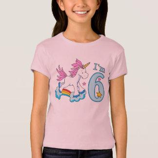 Camiseta Aniversário do arco-íris do unicórnio 6o