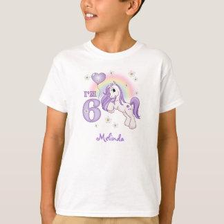 Camiseta Aniversário do pônei bonito 6o personalizado