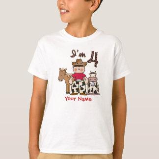 Camiseta Aniversário do vaqueiro 4o personalizado