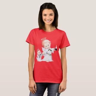 Camiseta Anjo bonito e gato do bebê