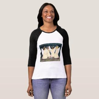 Camiseta Anjos de riso e t-shirt do Raglan do gatinho
