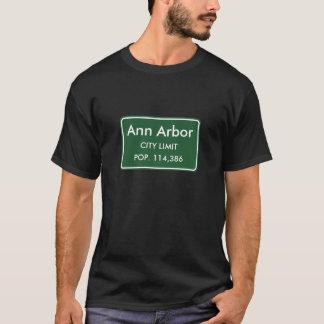 Camiseta Ann Arbor, sinal dos limites de cidade do MI