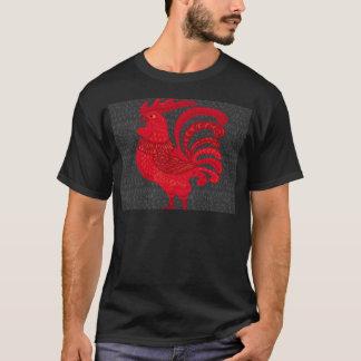 Camiseta Ano da galinha do fogo vermelho