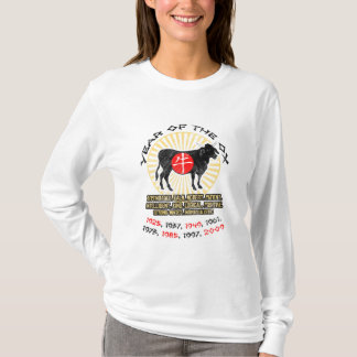Camiseta Ano de luva longa das senhoras das qualidades do