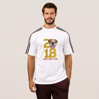 Camiseta Ano inglês do buldogue do ano novo do cão 2018