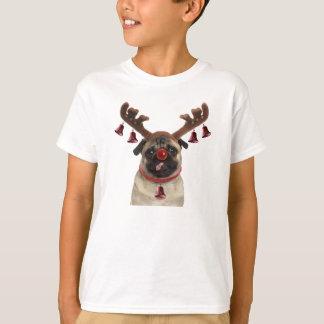 Camiseta Antlers do Pug - pug do Natal - Feliz Natal