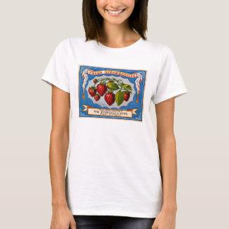 Camiseta Anúncio do vintage para morangos frescas cerca de
