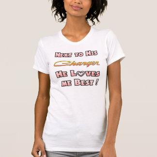 Camiseta Ao lado de seu carregador ama-me o melhor t-shirt