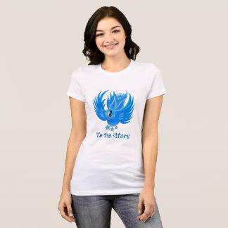 Camiseta Ao T azul do passarinho das estrelas