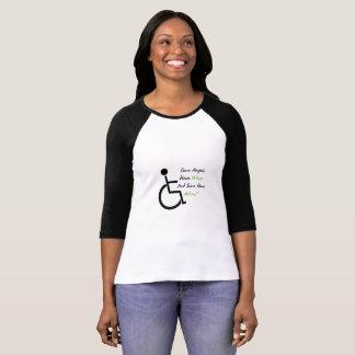 Camiseta Apoio do amor da cadeira de rodas do presente da