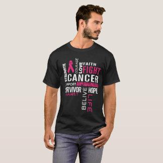 Camiseta Apoio do cancer da luta da fé do amor da coragem