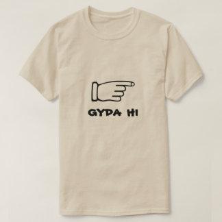 Camiseta Apontando o dedo com gyda do texto olá!
