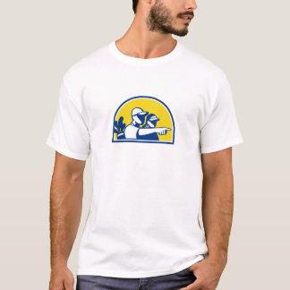 Camiseta Apontar do Caddie e do jogador de golfe retro