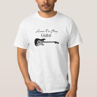 Camiseta Aprenda jogar a cor preta da guitarra
