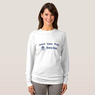 Camiseta Aprenda que o amor Pray - o t-shirt da Longo-luva