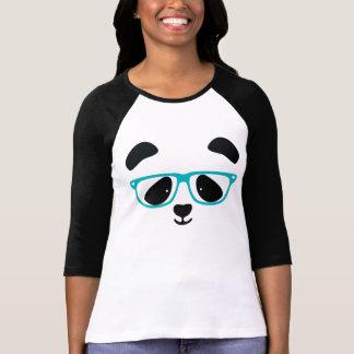 Camiseta Aqua bonito da cara da panda