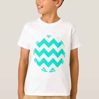 Camiseta Aqua e teste padrão branco de Chevron