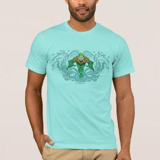 Camiseta Aquaman que Lunging para a frente