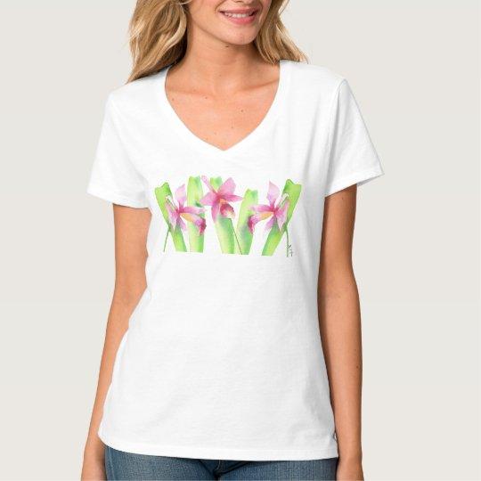 Camiseta Aquarela Orquídea Flor Colorida Decorativa