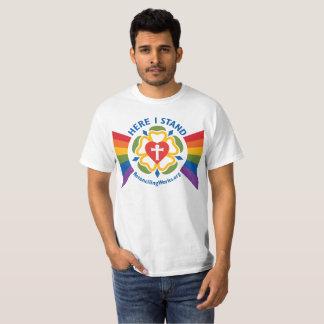 """Camiseta """"Aqui eu estou"""" o t-shirt (no tecido claro)"""