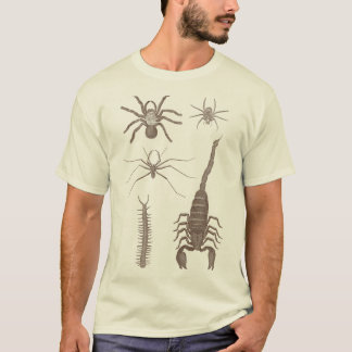 Camiseta Arachnophobia! Aranhas & escorpião parte dianteira