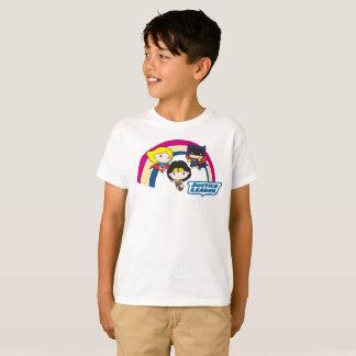 Camiseta Arco-íris da liga de justiça de Chibi