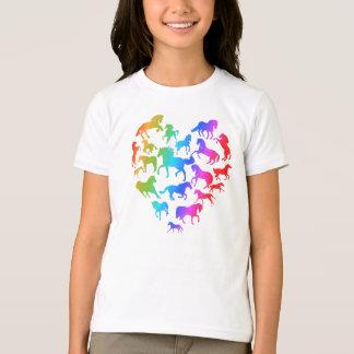 Camiseta Arco-íris da T-camisa do cavalo e do coração