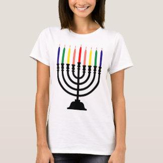 Camiseta Arco-íris Menorah de Chanukah