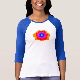 Camiseta Arco-íris retro flower power 3/4 de parte superior