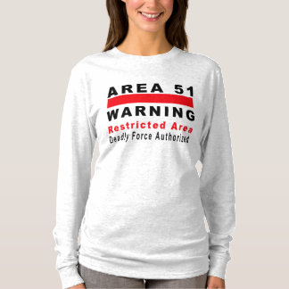 Camiseta Área 51 que adverte