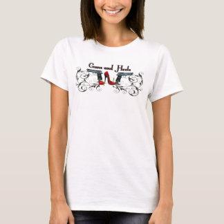 Camiseta Armas e t-shirt das senhoras dos saltos