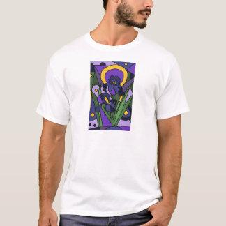 Camiseta Arte abstracta floral da íris azul impressionante