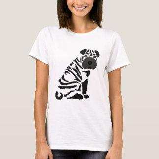 Camiseta Arte abstracta preta engraçada do cão de Shar Pei