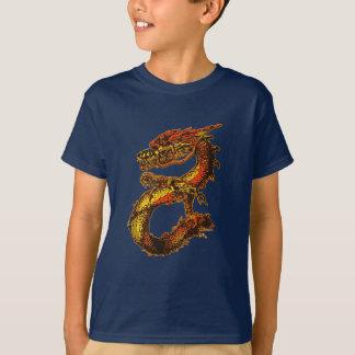 Camiseta Arte alaranjada e preta do dragão
