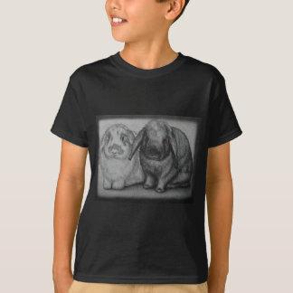 Camiseta Arte animal do giz do coelho do desenho do coelho