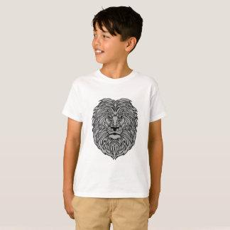 Camiseta Arte cinzenta do leão no t-shirt branco do menino
