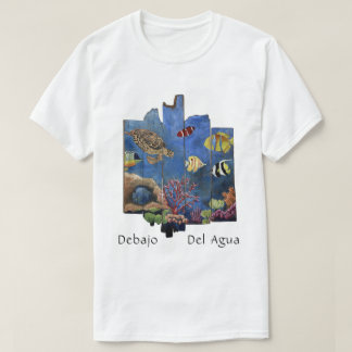 Camiseta Arte colorida bonito da ilha - Debajo Del Água