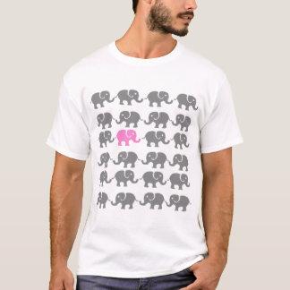 Camiseta Arte cor-de-rosa e cinzenta do elefante