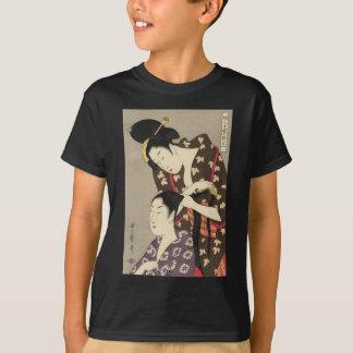 Camiseta Arte de Utamaro Yuyudo Ukiyo-e do cabeleireiro das